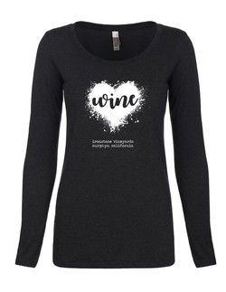 Women's Long Sleeve - Wine Heart - Black